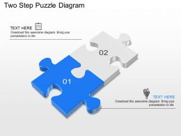 Two Step Puzzle Diagram Powerpoint Template Slide