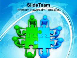 Two Teams Efforts Green Blue Puzzles Business Powerpoint Templates Ppt Themes And Graphics 0113