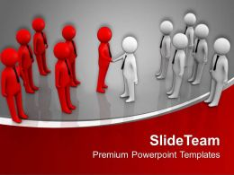 Two Teams Shaking Hands Business Deal Powerpoint Templates Ppt Themes And Graphics 0313
