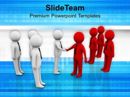 Two Teams Shaking Hands Business PowerPoint Templates PPT Themes And Graphics 0213