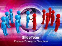 Two Teams Shaking Hands Global Business Powerpoint Templates Ppt Themes And Graphics 0113