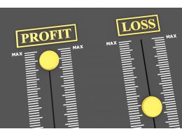 Two Technical Meters With Profit Loss Display Stock Photo