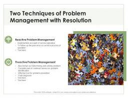 Two Techniques Of Problem Management With Resolution