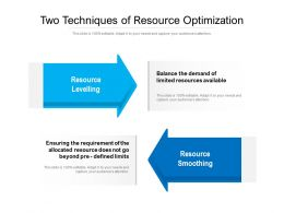 Two Techniques Of Resource Optimization