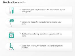 Two Test Tubes Medical Flag Wheel Chair Ppt Icons Graphics