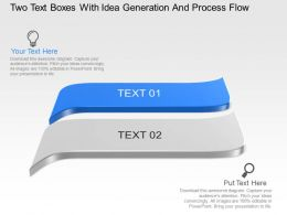 Two Text Boxes With Idea Generation And Process Flow Powerpoint Template Slide