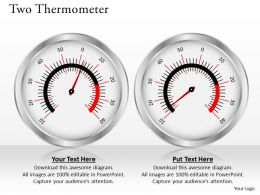 Two Thermometer Powerpoint Template Slide