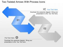 Two Twisted Arrows With Process Icons Powerpoint Template Slide