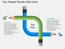 Two Twisted Pencils With Icons Flat Powerpoint Design