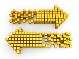 Two Way Arrows Designed From Cubes Stock Photo