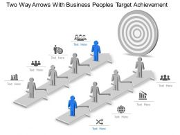Two Way Arrows With Business Peoples Target Achievement Powerpoint Template Slide
