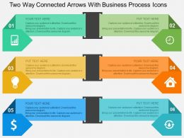 two_way_connected_arrows_with_business_process_icons_flat_powerpoint_design_Slide01