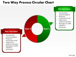 two way process circular chart powerpoint templates graphics slides 0712
