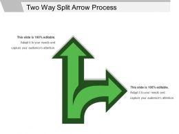 two_way_split_arrow_process_ppt_templates_Slide01