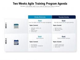 Two Weeks Agile Training Program Agenda