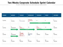 Two Weeks Corporate Schedule Sprint Calendar