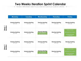 Two Weeks Iteration Sprint Calendar