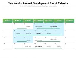 Two Weeks Product Development Sprint Calendar