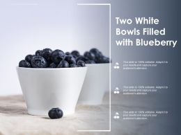Two White Bowls Filled With Blueberry
