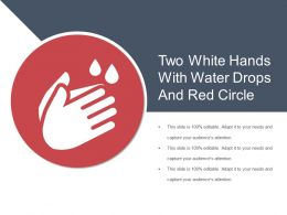 Two White Hands With Water Drops And Red Circle