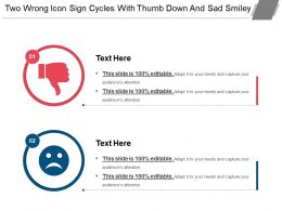 Two Wrong Icon Sign Cycles With Thumb Down And Sad Smiley