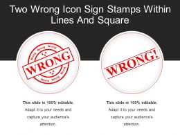 Two Wrong Icon Sign Stamps Within Lines And Square