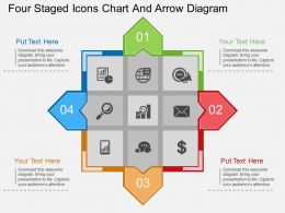 ty Four Staged Icons Chart And Arrow Diagram Flat Powerpoint Design