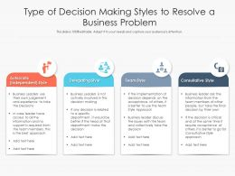 Type Of Decision Making Styles To Resolve A Business Problem