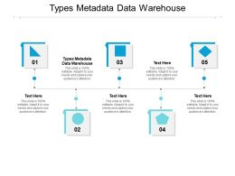 Types Metadata Data Warehouse Ppt Powerpoint Presentation Model Deck Cpb