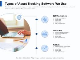Types Of Asset Tracking Software We Use Fulfilment Ppt Powerpoint Presentation Styles