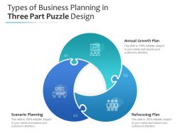 Types Of Business Planning In Three Part Puzzle Design