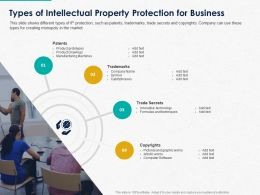 Types Of Intellectual Property Protection For Business Ppt Powerpoint Show Aids