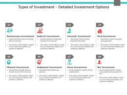 Types Of Investment Detailed Investment Options Planned Investment Ppt Slides