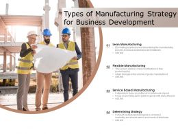 Types Of Manufacturing Strategy For Business Development