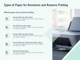 Types Of Paper For Brochures And Banners Printing Ppt Infographics Model