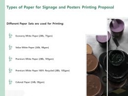Types Of Paper For Signage And Posters Printing Proposal Ppt Powerpoint Presentation Slides