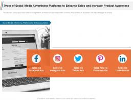 Types Of Social Media Advertising Platforms To Enhance Sales And Increase Product Awareness Ppt Ideas
