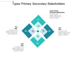 Types Primary Secondary Stakeholders Ppt Powerpoint Presentation Icon Clipart Cpb