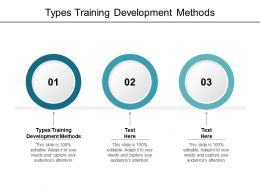 Types Training Development Methods Ppt Powerpoint Presentation Summary Brochure Cpb