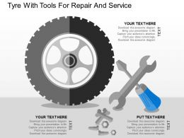 Tyre With Tools For Repair And Service Flat Powerpoint Design