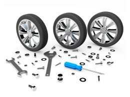 Tyres With Tools Like Nut Bolts Wrench Screwdriver Stock Photo