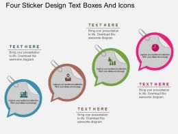 ua Four Sticker Design Text Boxes And Icons Flat Powerpoint Design