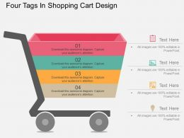 ub Four Tags In Shopping Cart Design Flat Powerpoint Design