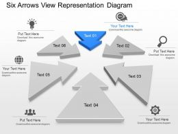 Ub Six Arrows View Representation Diagram Powerpoint Template Slide