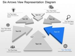 ub six arrows view representation diagram powerpoint template slide, Ub Presentation Template, Presentation templates