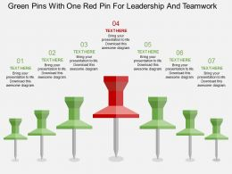 uc Green Pins With One Red Pin For Leadership And Teamwork Flat Powerpoint Design