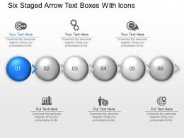 Ud Six Staged Arrow Text Boxes With Icons Powerpoint Template Slide