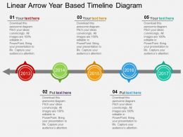 ue Linear Arrow Year Based Timeline Diagram Flat Powerpoint Design