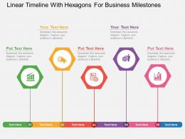 uf Linear Timeline With Hexagons For Business Milestones Flat Powerpoint Design