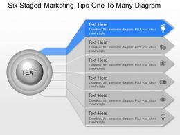 Ug Six Staged Marketing Tips One To Many Diagram Powerpoint Template Slide